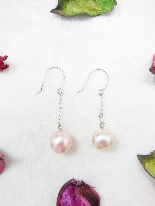 9mm 粉紅珍珠K金耳環【元圓珠寶】