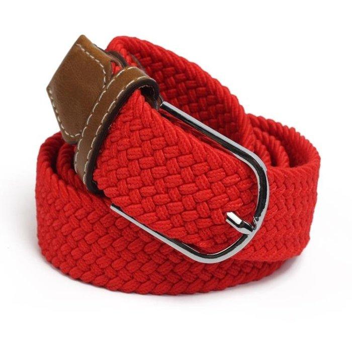 皮帶 彈力編織皮帶 男女通用針扣鬆緊褲帶 休閒簡約百搭帆布腰帶