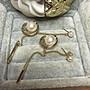 DIOR 經典 二手 星球 淡金色 白珍珠 流蘇 耳環