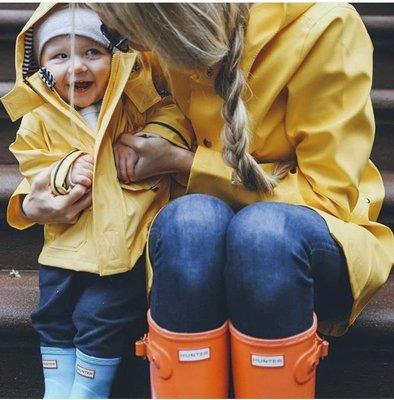 HUNTER BOOTS 可調整釦帶女靴 亮面經典橘 威靈頓雨靴Wellington Boots 雨鞋 愛馬仕橘