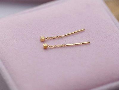 净心結緣處 足金 999黃金 方格流蘇耳線 小巧精致 是一只價格