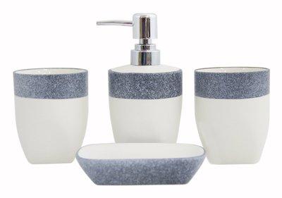 zakka風格 時尚簡約 雙色大理石紋理浴室四件套 陶瓷 CBAS00088
