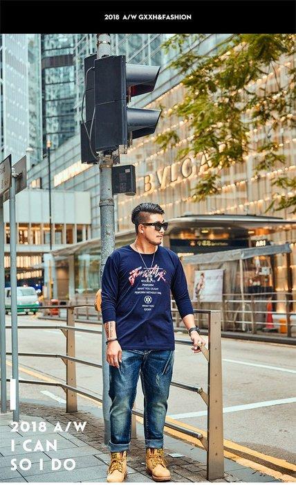 【奈司酷比】大尺碼新款秋冬大碼潮流搶眼印花寬鬆休閒圓領男生長袖T恤(寶藍)-LOH-98 2XL-7XL