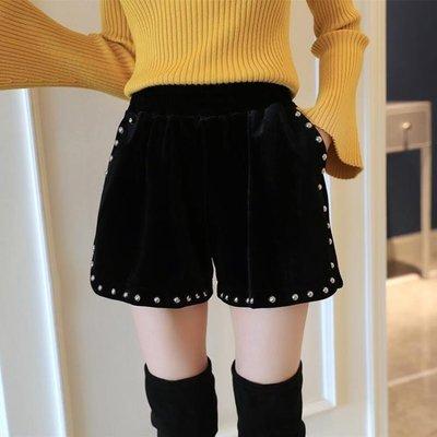 絲絨短褲女百搭外穿胖mm大碼港味靴褲高腰顯瘦金絲絨闊腿褲潮