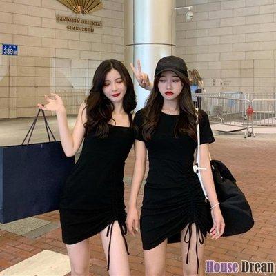 包臀裙 性感收腰洋裝女2020新款吊帶包臀短裙夏季抽繩黑色氣質裙子