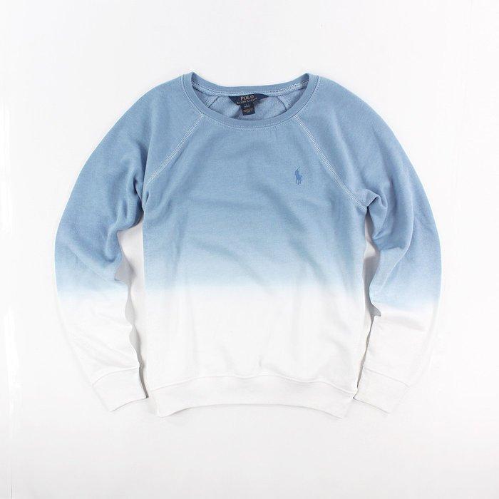 美國百分百【Ralph Lauren】Polo衫 RL 長袖 T恤 T-shirt 大學T 小馬 女 藍色漸層 H898