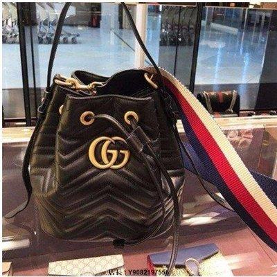 二手《Gucci 476674 GG Marmont quilted leather bucket 水桶肩背包 粉