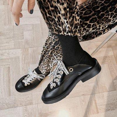[ZUOYI佐依良品]2020早春新款真皮女鞋系帶百搭平底單鞋街拍休閑復古小皮鞋潮鞋女