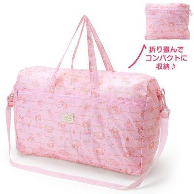 滿3免運!日本進口~正版美樂蒂 my melody 波士頓旅行袋/可掛拉桿行李箱/折疊收納購物行李袋/手提+斜背側背~粉