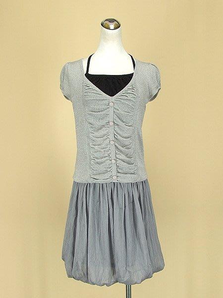貞新 韓版 灰色v領短袖假兩件棉質上衣F+ONE AFTER ANOTHER 日本 灰色雪紡紗花苞裙 S號(36571)
