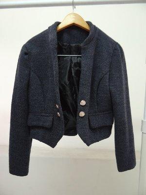 【imin】二手 小立領 微墊肩 微公主袖 短版 裝飾釦 毛料 外套(深灰) 台北市