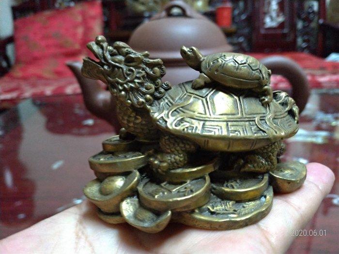 純黃銅/金錢龍龜/大小請看手比例/放在櫃檯或放在財位有招財開運之作用