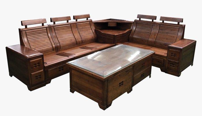 宏品二手家具大里 A11201*L型樟木沙發含茶几*全新中古傢俱家電 2手桌椅 滿千送百豐富喜悅 台北桃園新竹苗栗