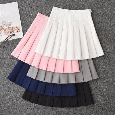 5色 半身裙 白色軟妹百褶裙短裙秋冬女高腰半身裙褲裙子