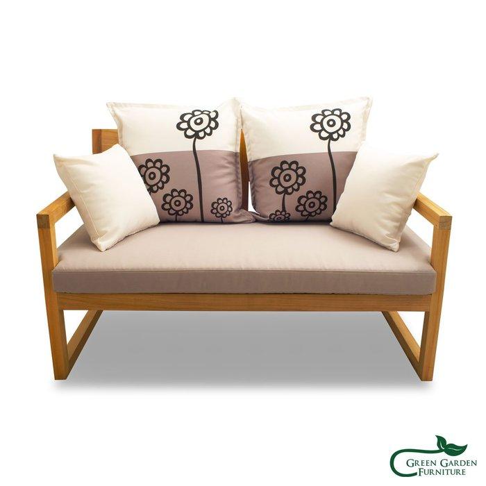 紐約 柚木雙人沙發椅(原色)【大綠地家具】100%印尼柚木實木/無上漆原木款/實木沙發