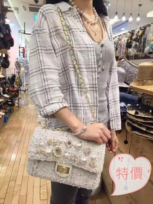 東大門平價鋪 【韓國代購】女裝新小香風格格珠珠蝴蝶結單肩斜挎包