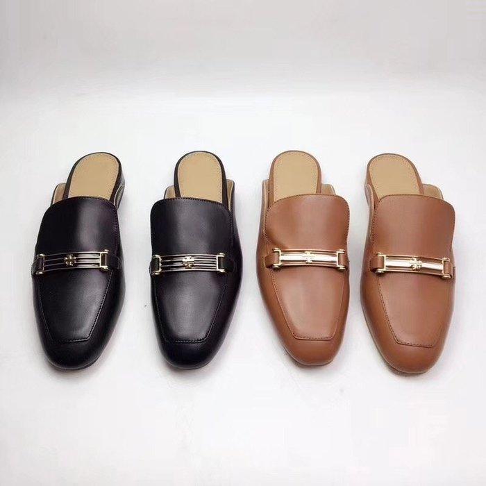 NaNa代購 Tory Burch 懶人鞋 拖鞋 穿著舒適透氣 時尚 潮人必備款 牛皮鞋面 羊皮內裡 附購證