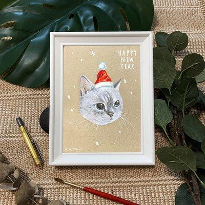 你是貓派 聖誕新年卡 明信片 美短貓 單張