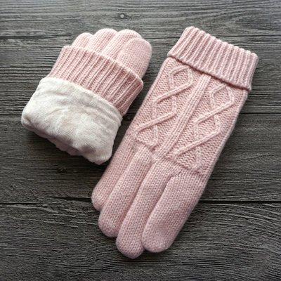 新品上市#秋冬新品女士羊毛毛線雙層加厚加絨擰花觸屏保暖防寒手套
