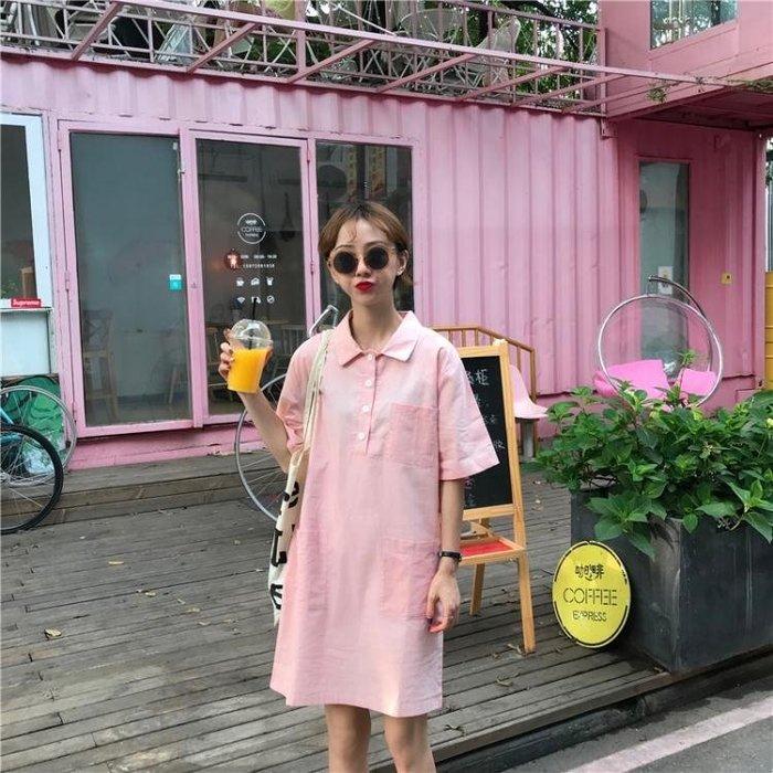 【瘋狂夏折扣】連身裙 口袋短袖連衣裙女夏季韓版學生時尚寬鬆氣質翻領A字裙子