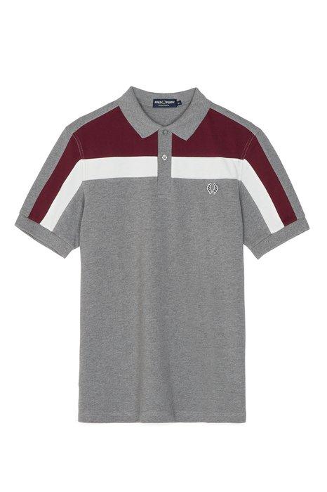 ◎美國代買◎ASOS代買Fred Perry紅藍白條紋拼接袖長顯廋合身灰色polo衫~歐美街風~大尺碼