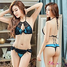 公司貨【Anna Mu】情趣內衣 亮藍色緞面蕾絲綁脖式情趣比基尼二件組(NA12030188)