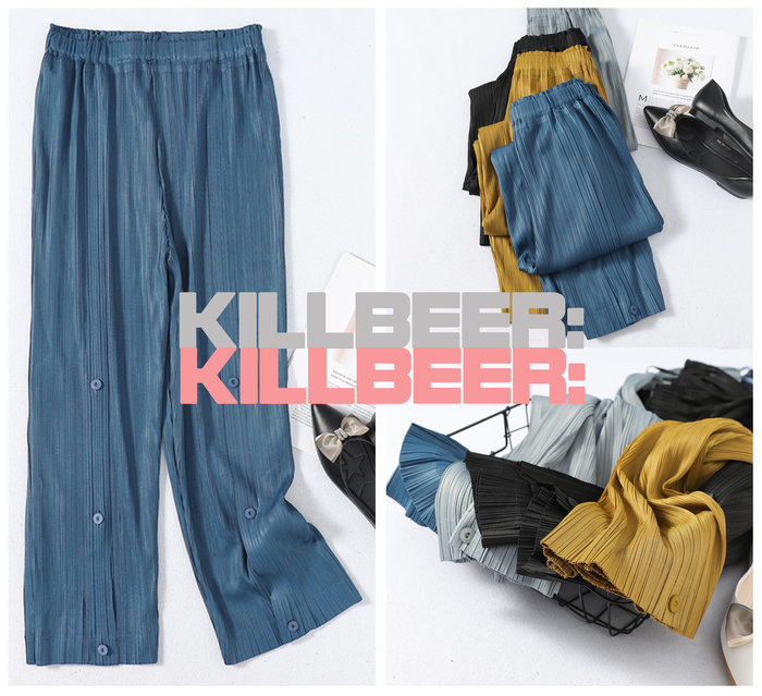 KillBeer:代購✈️✈️日本品牌外流ISSEYMIYAKE三宅一生新款簡約皺摺百搭高腰鈕扣寬管長褲A080505