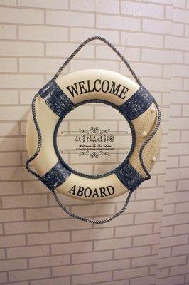 ~*歐室精品傢飾館*~夏日海洋風格 藍白救生圈 Welcome 擺飾 裝飾 居家民宿 餐廳 海邊~新款上市~