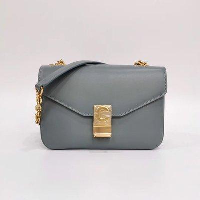 ✔️Alan艾倫歐美代購™️ celine box C bag 淺灰藍色 小牛皮小C扣 中型鍊帶包 斜背包