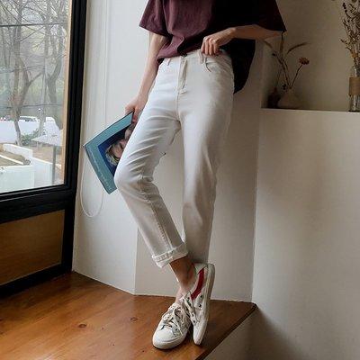 復古百搭白色牛仔直筒褲女2018春季  休閑九分褲子
