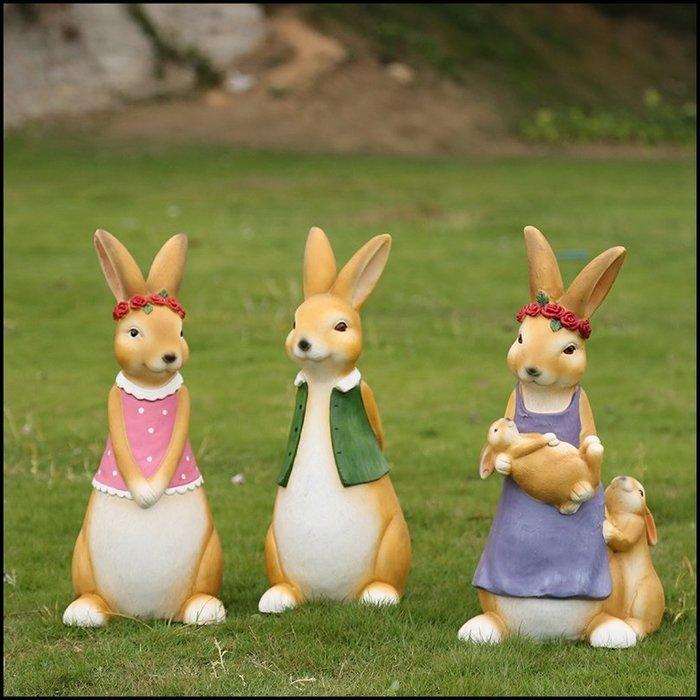 鄉村風 高嶺土製立體玫瑰花圈結婚兔子公仔一對 高約51公分可愛動物擺件戶外鄉村娃娃擺飾品玩偶園藝用品婚禮佈置【歐舍傢居】