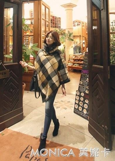 秋冬裝新款女裝格子披肩呢子大衣韓版大碼拼接毛呢斗篷外套潮