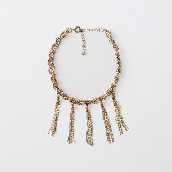 美國百分百【全新真品】Abercrombie & Fitch 項鍊 頸環 飾品 金屬 AF 流蘇 麋鹿 金色 H882