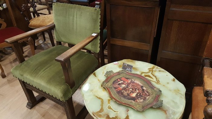 【卡卡頌 歐洲跳蚤市場/歐洲古董】歐洲老件_義大利 手工木雕刻 歐洲古風藝術圖案 紅金 大托盤 w0108✬