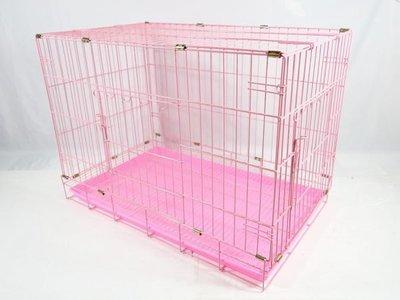 *優比寵物*3尺《粉紅色》(雙門=正門+側門)活動折疊式/摺疊式靜電粉體烤漆兔籠/貓籠/狗籠/寵物籠-台灣製造-