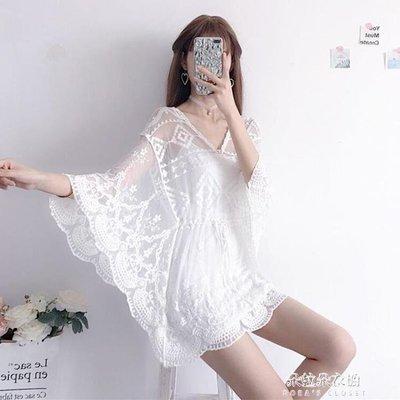 ZIHOPE 新款夏季女裝韓版鏤空蕾絲雪紡衫蝙蝠袖罩衫吊帶上衣打底衫萌ZI812