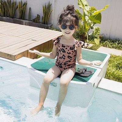 泳衣兒童泳衣女女童韓國可愛連體豹紋游泳衣寶寶嬰兒小童公主INS泳裝