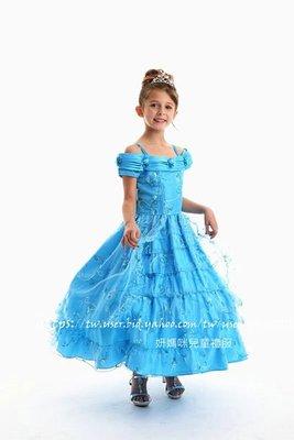 妍媽咪兒童禮服出租~艾蜜莉公主花式雙肩TURQUOISE 土耳其藍 水晶紗女童晚禮服~演奏會