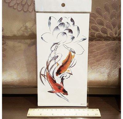 【萌古屋】金魚蓮花小腿手臂大圖 - 男女防水紋身貼紙刺青貼紙 K00