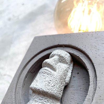 【曙muse】水泥洞穴小摩艾桌燈 摩艾 復活節島 復活島 造型 洞穴的 摩艾燈