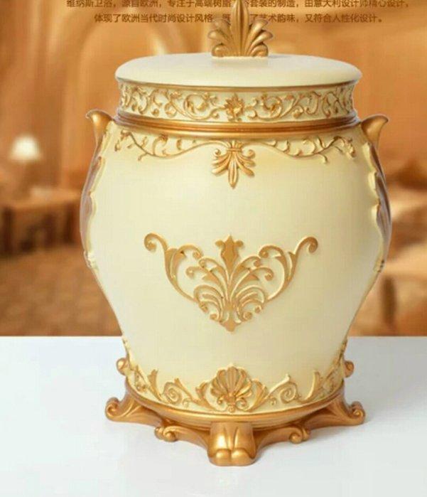 粉紅玫瑰精品屋~歐式奢華古典皇域宮廷花收納桶 垃圾桶~