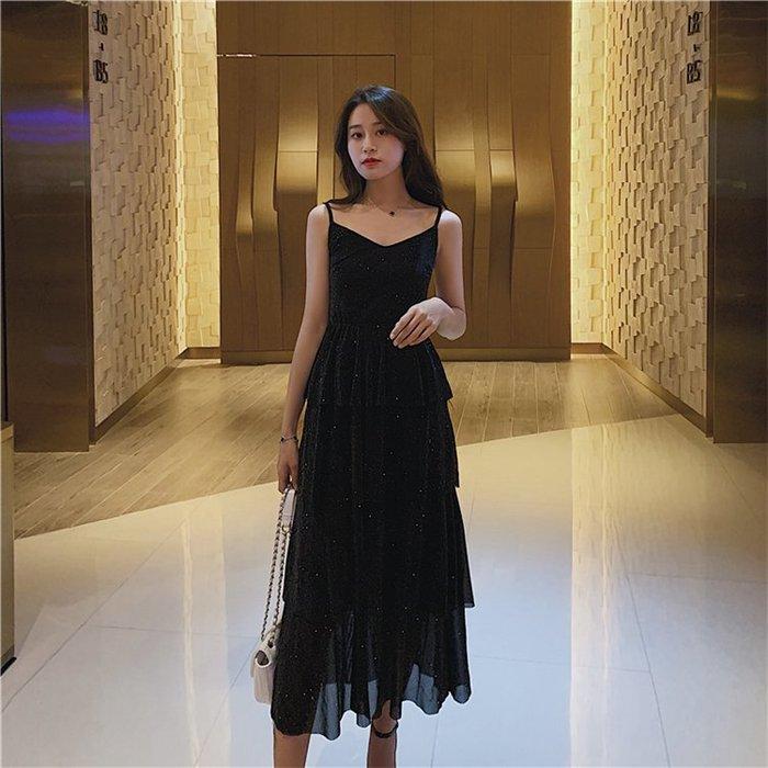 吊帶裙 法國小眾裙子2019夏裝新款性感V領閃亮法式過膝中長款吊帶連衣裙