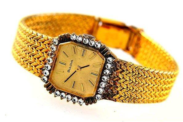 (六四三精品)古董名錶BULOVA(真品)外框水鑽.編織式錶帶.古董手上鍊機械錶.女(可自取板橋)