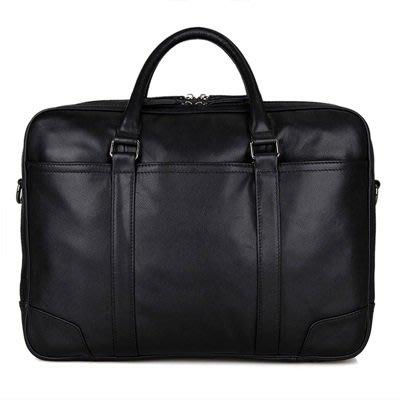 手提 包 真皮公事包-黑色牛皮15吋商務男包包73ur6[獨家進口][米蘭精品]