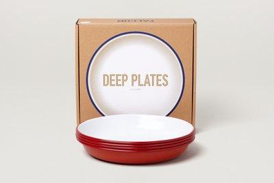 Falcon 琺瑯 深盤 四件組 Deep Plates 鮮果紅 英國獵鷹琺瑯 delicateworld