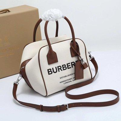 Alina 精品代購Burberry 巴寶莉 英倫都會時尚 品牌字母印花手提包 通勤包包 outlet代購