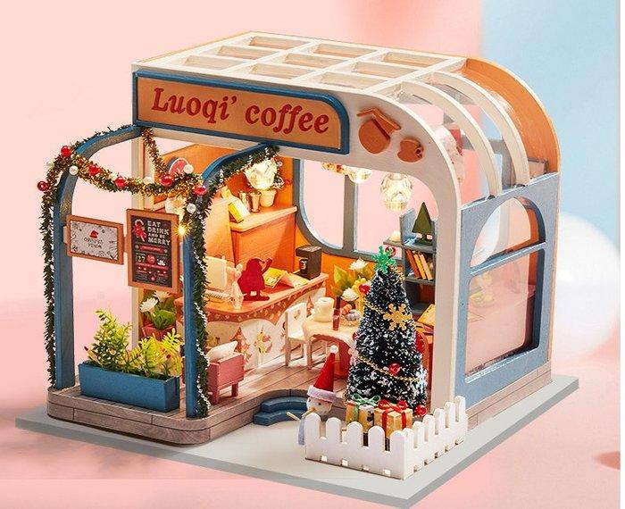 【批貨達人】洛祺咖啡廳 手工拼裝 手作DIY小屋袖珍屋 帶防塵罩 迷你屋 創意小物生日禮物