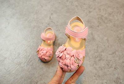 【溜。溜。選物】兒童涼鞋 公主小花軟底黏式涼鞋 沙灘鞋 休閒鞋 童鞋