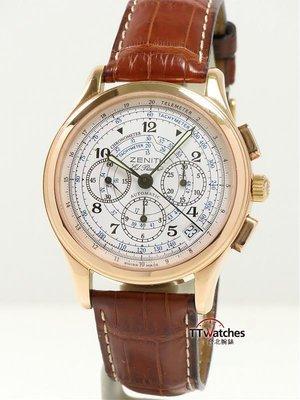 *台北腕錶* Zenith 先力 El Primero 計時碼錶 玫瑰金 限量款 152697