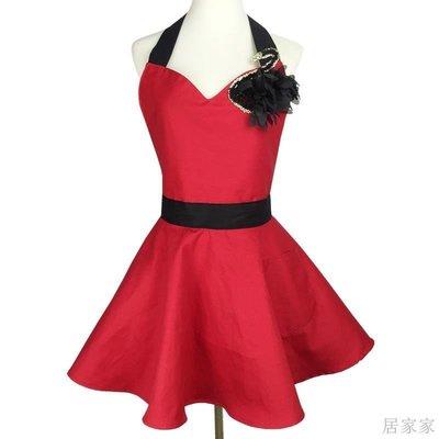 居家家 圍裙訂製女紅色V領性感天鵝裝飾家用廚房會所年會喜慶圍裙工作服
